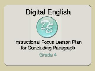 Instructional Focus Lesson Plan for Concluding Paragraph Grade 4