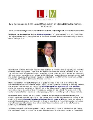LJM Developments CEO, Liaquat Mian, bullish on US and Canadi