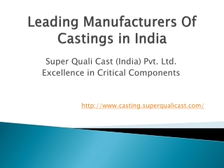 Manufacturers of castings in India