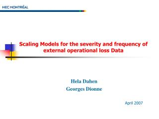 Scaling Models for the severity and frequency of external operational loss Data