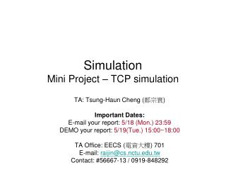 Simulation Mini Project   TCP simulation