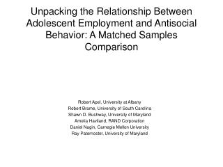 Unpacking the Relationship Between Adolescent Employment and Antisocial Behavior: A Matched Samples Comparison