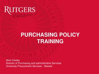 PURCHASING POLICY TRAINING