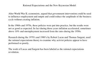 Rational Expectations and the New Keynesian Model