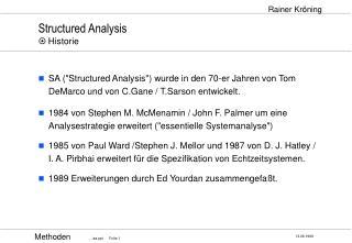 Structured Analysis ¤ Historie