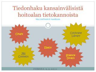 Tiedonhaku kansainvälisistä hoitoalan tietokannoista http://staff.hamk.fi/~kamikkonen