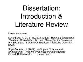 Dissertation: Introduction & Literature Review
