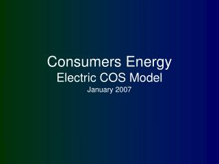 Consumers Energy Electric COS Model
