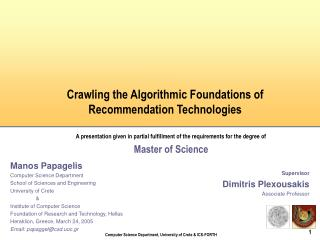 Crawling the Algorithmic Foundations of Recommendation Technologies