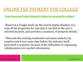 Online fee payment for college