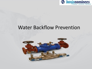 Water Backflow Prevention