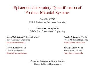 Epistemic Uncertainty Quantification of Product-Material Systems