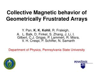 Collective Magnetic behavior of Geometrically Frustrated Arrays