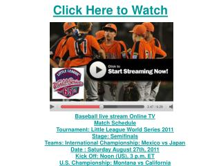 watch japan vs california little league world series basebal