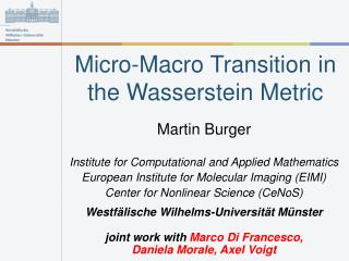 Micro-Macro Transition in the Wasserstein Metric