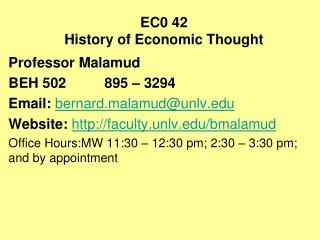 EC0 42 History of Economic Thought