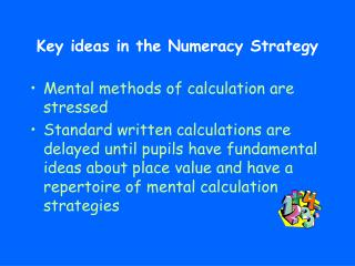 Key ideas in the Numeracy Strategy