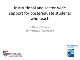 Institutional and sector-wide support for postgraduate students who teach