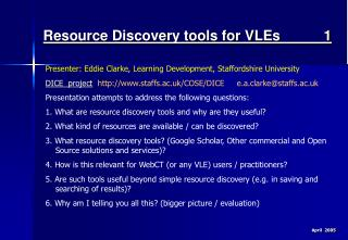 Resource Discovery tools for VLEs 1