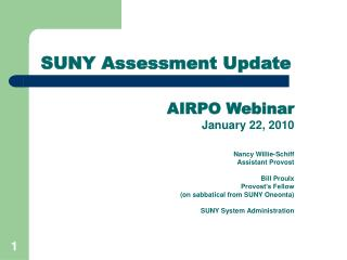 SUNY Assessment Update