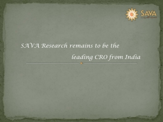 SAVA Research Leading CRO Company From India