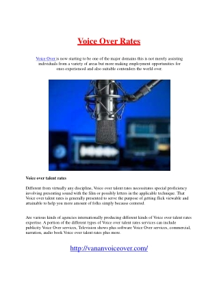 Voice Over Rates