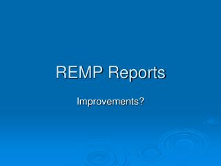 REMP Reports