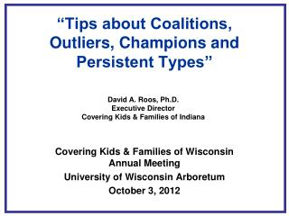 """Tips about Coalitions, Outliers, Champions and Persistent Types"""