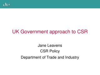 UK Government approach to CSR