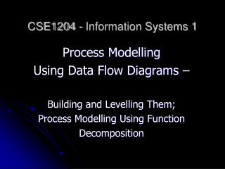 CSE1204 - Information Systems 1