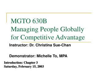 MGTO 630B Managing People Globally for Competitive Advantage