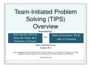 Team-Initiated Problem Solving (TIPS)  Overview