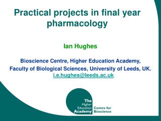 Practical projects in final year pharmacology