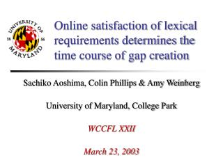 Online satisfaction of lexical requirements determines the time course of gap creation