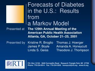 Forecasts of Diabetes in the U.S.: Results from a Markov Model
