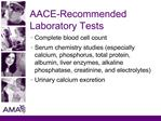 AACE-Recommended Laboratory Tests