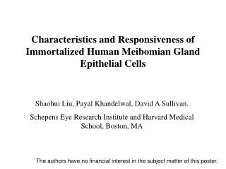 Characteristics and Responsiveness of Immortalized Human Meibomian Gland Epithelial Cells