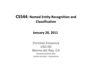 CS544: Named Entity Recognition and Classification