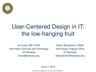 User-Centered Design in IT: the low-hanging fruit