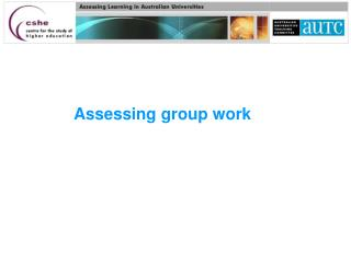 Assessing group work