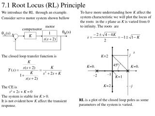 7.1 Root Locus (RL) Principle We introduce the RL through an example. Consider servo motor system shown bellow