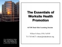 the essentials of worksite health promotion
