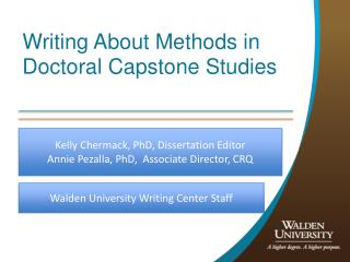Writing About Methods in Doctoral Capstone Studies