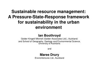 Sustainable resource management:  A Pressure-State-Response framework  for sustainability in the urban environment