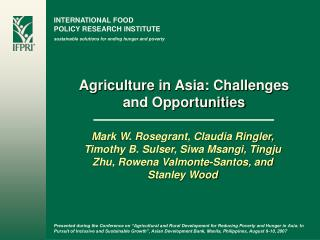 Agriculture in Asia: Challenges and Opportunities
