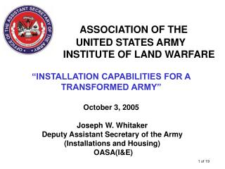 ASSOCIATION OF THE  UNITED STATES ARMY        INSTITUTE OF LAND WARFARE