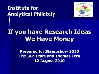 If you have Research Ideas We Have Money