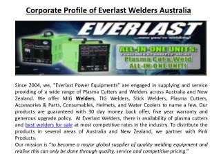 Corporate Profile of Everlast Welders Australia