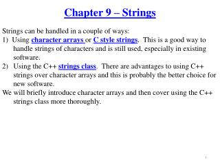 Chapter 9 – Strings