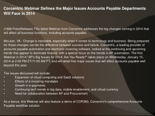Corcentric Webinar Defines the Major Issues Accounts Payable